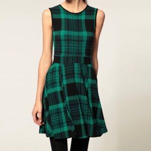 ASOS Green Black Plaid Skater Dress EUC